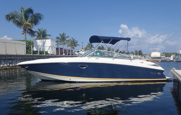 Side view of the Cobalt boat in the marina